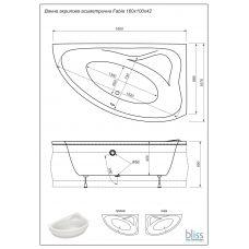 Ванна Bliss Fabia 160х100 левая акриловая ассиметричная (c панелью и каркасом)