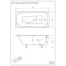 Ванна Bliss Merit 150х70 акриловая прямоугольная (на каркасе)