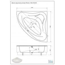 Ванна Bliss Riviera 140х140 акриловая угловая (c панелью и каркасом)