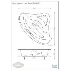 Ванна Bliss Riviera 150х150 акриловая угловая (c панелью и каркасом)